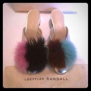 Loeffler Randall Lulu Mule with Fox Fur poufs